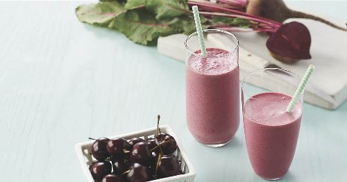 Recover after a workout with a bright beet, cherry and pomegranate smoothie