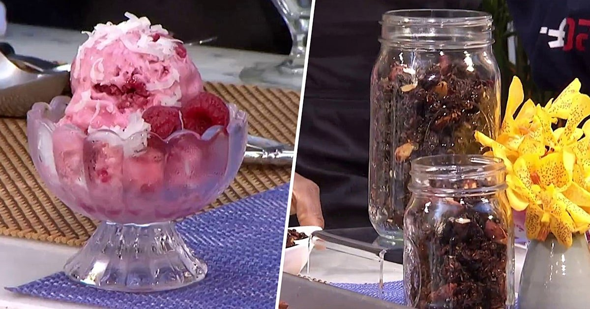 Indulge like an Olympian: Dawn Burrell makes coconut-raspberry sorbet and granola