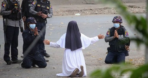 Myanmar nun becomes symbol of resistance as she puts herself between police and protesters