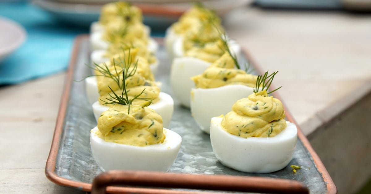Add extra zing to deviled eggs with salty capers and fresh dill