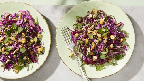 Shredded Beet and Red Cabbage Slaw with Tahini-Lime Dressing
