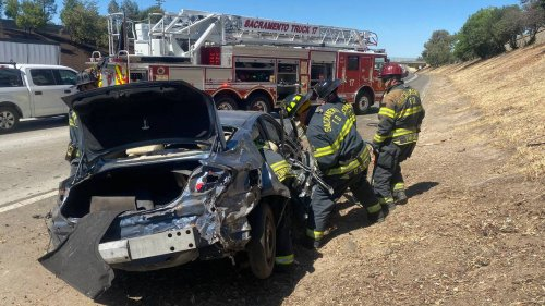 Two hospitalized, extricated from car after rollover crash on I-80 in Sacramento
