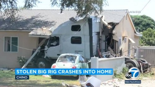 Police chase ends when stolen big rig slams into house, California police say