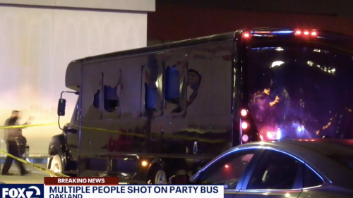 Party bus riddled with bullets on freeway, killing two inside, California police say