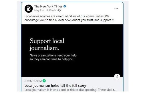 The New York Times is encouraging readers to support local journalism