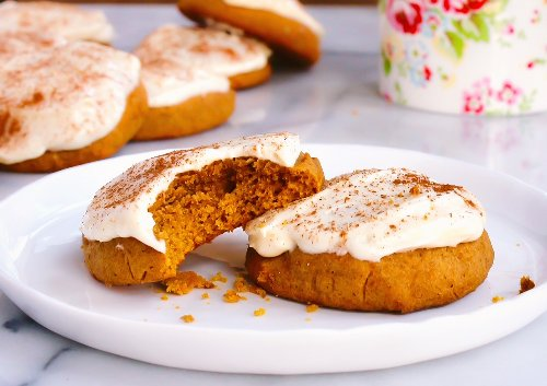 These pumpkin cookies with spiked cream cheese frosting are like whipping up a cake, minus the work