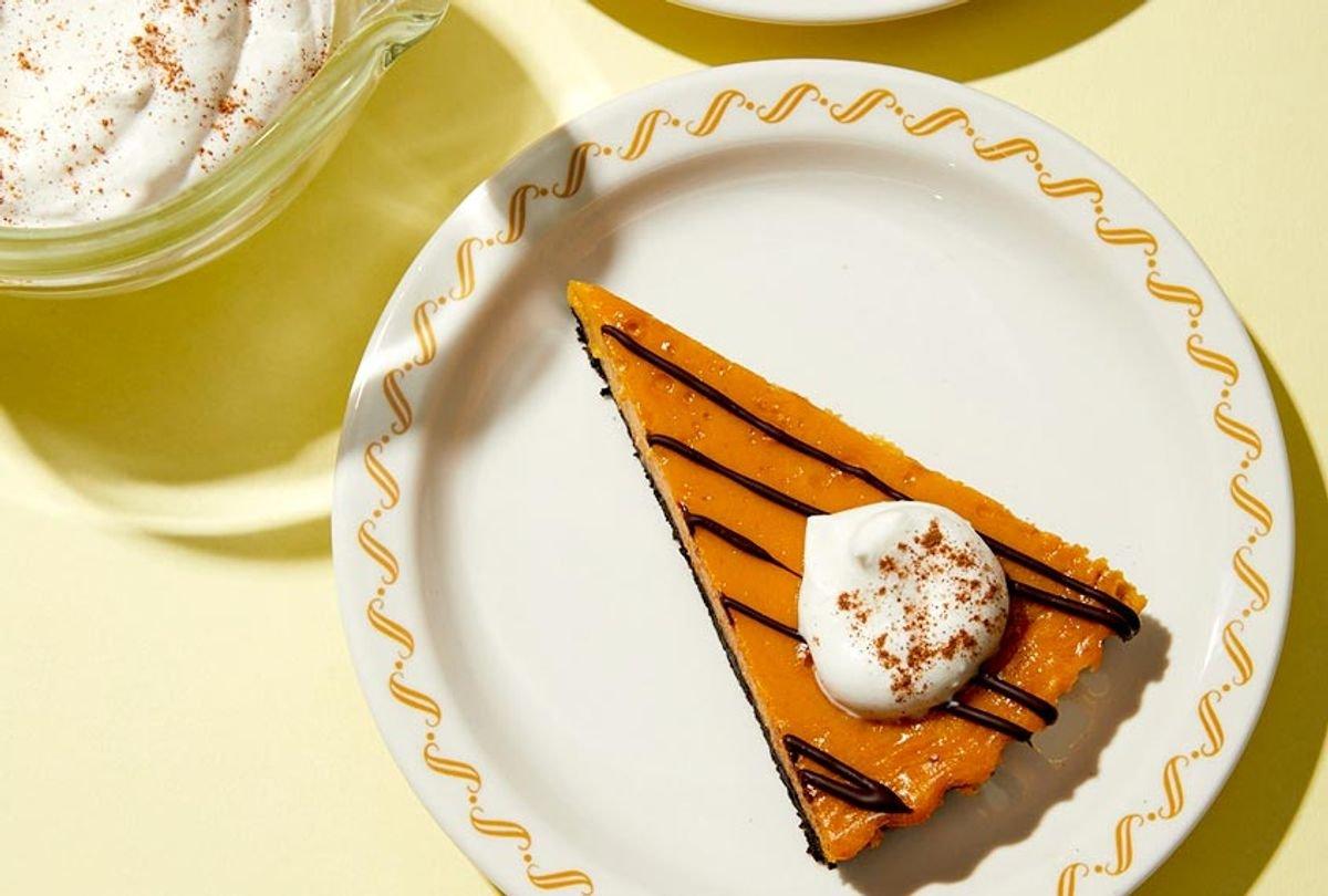 Timeless pumpkin chocolate tart with cinnamon whipped cream