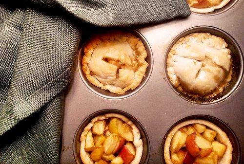 Use a muffin tin to make a dozen adorable miniature bourbon apple pies