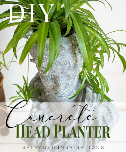 DIY Concrete Head Planter - Salvaged Inspirations