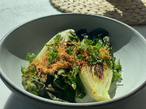 Seared Little Gem Lettuce with Buttermilk, Anchovy, and Bread Crumbs