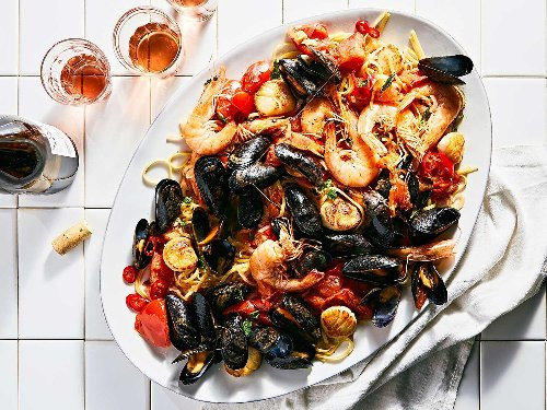 Seafood Pasta with Tomatoes, Chiles, and Mint