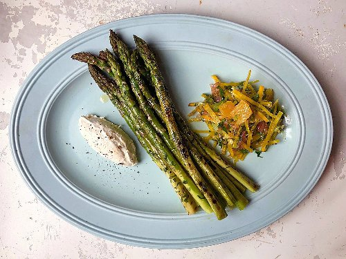 Grilled Asparagus with Citrus-Beet Salad and Whipped Ricotta