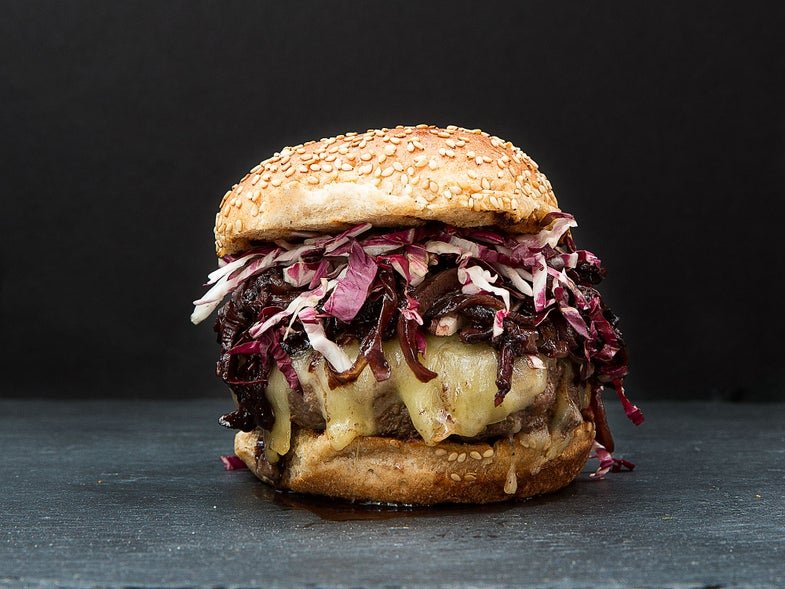 Grilled Burgers With Mushroom and Onion Jam