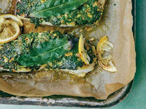 Roasted Cod with a Cilantro Crust (Samak mashew bil cozbara w al limon)