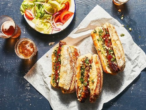 Grilled Chorizo Sandwiches with Chimichurri (Choripán)