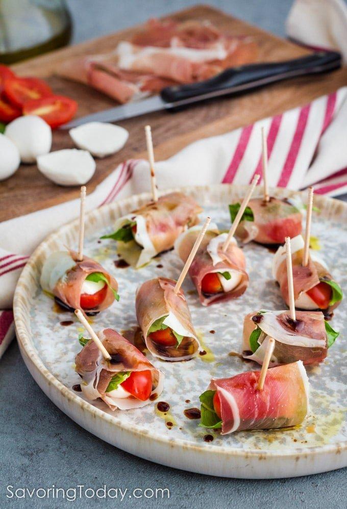 Prosciutto-Wrapped Caprese Salad Bites Appetizer