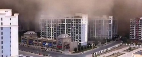 Stunning Footage Shows Giant 100-Meter-High Sandstorm Swallowing City in China
