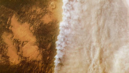 Martian dust storms parch the planet by driving water into space