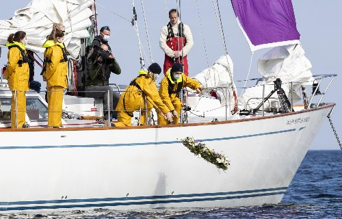 Prince Philip: Gordonstoun School students lay a wreath at sea in tribute to its most famous former pupil