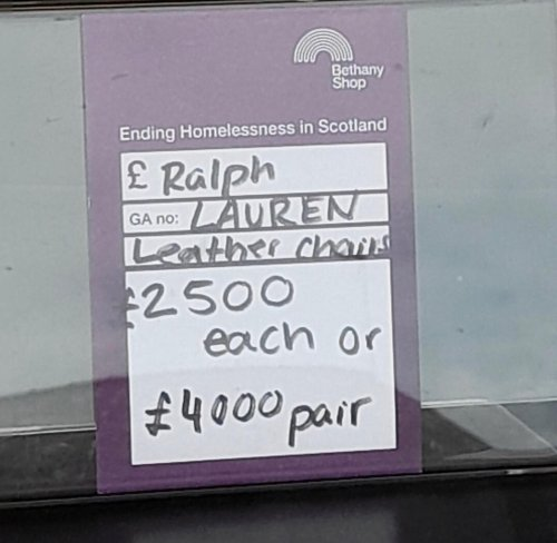 'It's bizarre donating something that valuable' Edinburgh charity shop receives donation of £4000 Ralph Lauren chairs