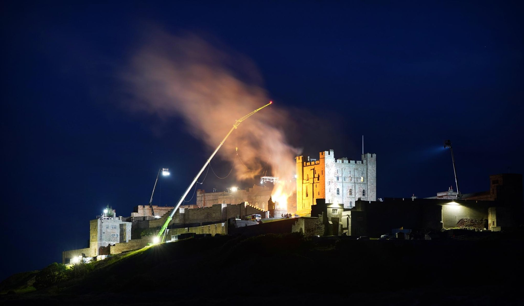 New Indiana Jones movie lights up the night sky at historic castle as filming continues