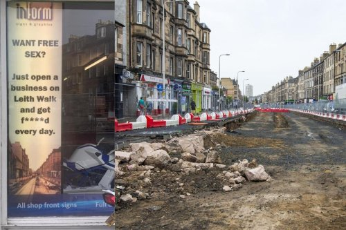 Edinburgh 'free sex?' sign jokes about impact of tram works on local businesses
