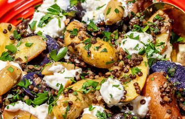 Egyptian potato salad gets a modern twist from black lentils, buttery fingerlings and garlicky labneh