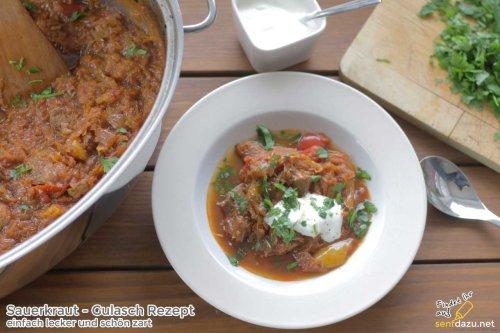 Sauerkraut Gulasch Rezept - einfach geschmort und lecker zart