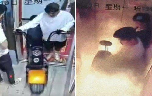 [영상] 3초만에 '펑'…中 밀폐된 승강기서 전기자전거 폭발 사고