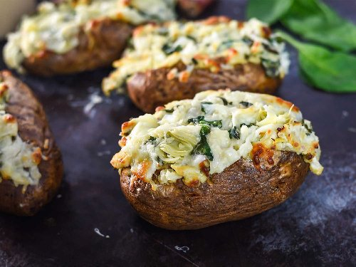 Spinach and Artichoke Dip Baked Potatoes Recipe