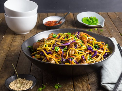 Stir-Fried Lo Mein Noodles With Pork and Vegetables Recipe