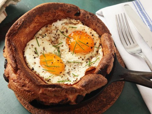 Eggy Puds (Breakfast Yorkshire Puddings With Bacon and Fried Eggs) Recipe