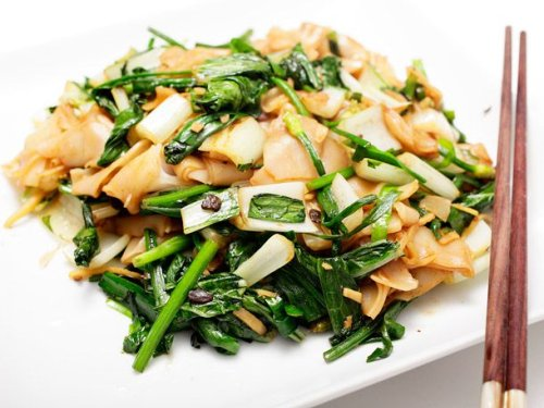Bok Choy With Chives, Black Bean Sauce, and Chow Fun Recipe