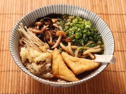Japanese Udon With Mushroom-Soy Broth, Stir-Fried Mushrooms, and Cabbage (Vegan) Recipe