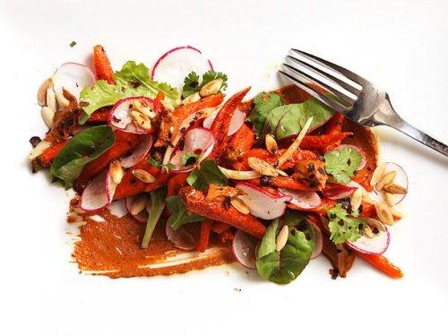Roasted-Carrot Salad With Peanut-Sesame Mole Recipe