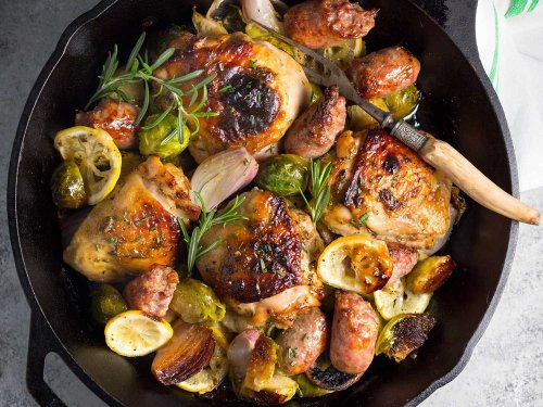 One-Pan Chicken, Sausage, and Brussels Sprouts Recipe