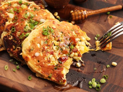 Bacon, Corn, and Cheddar Pancakes