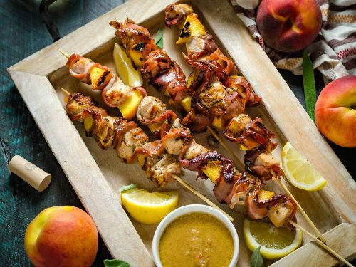 Grilled Chicken and Peach Saltimbocca Skewers Recipe