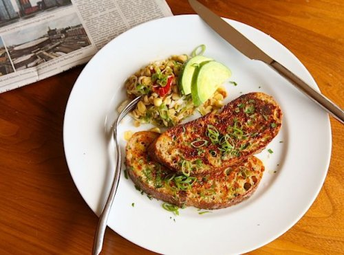 Savory Cheese-Crusted French Toast With Garlic and Parmesan Recipe