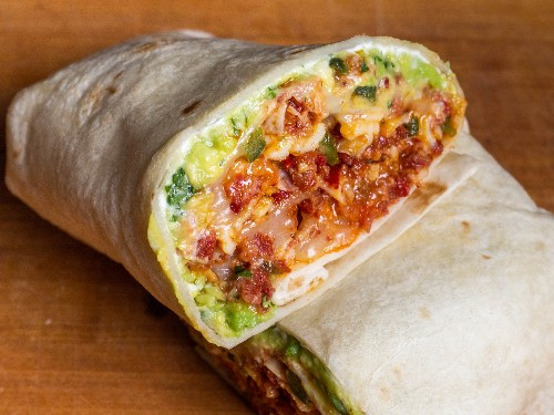 Breakfast Burrito With Scrambled Egg, Chorizo, and Refried Beans Recipe