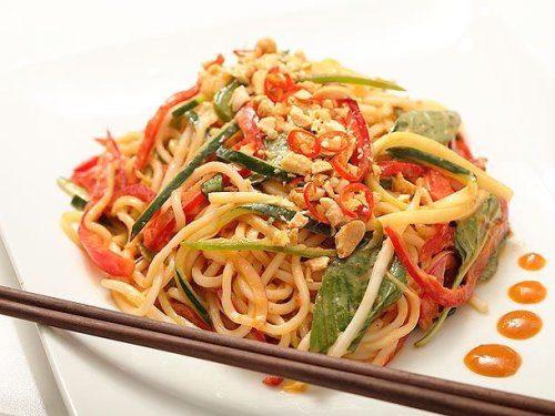 Spicy Peanut Noodle Salad With Cucumbers, Red Peppers, and Basil (Vegan) Recipe