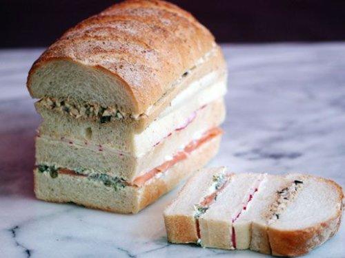 Egg Salad, Salmon, and Radish Sandwich Loaf Recipe