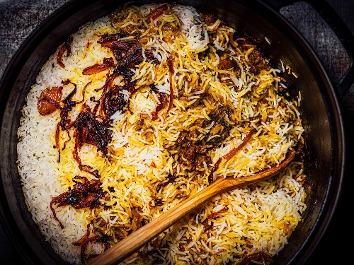 Lamb Biryani With Saffron, Yogurt, and Caramelized Onions Recipe