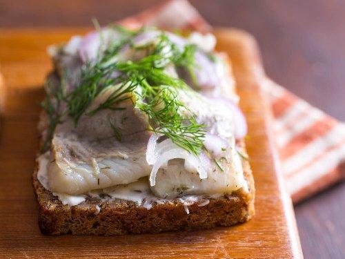 Pickled Herring Smørrebrød (Danish Open-Faced Sandwich) Recipe