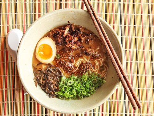 Miso Ramen With Crispy Pork and Burnt Garlic-Sesame Oil Recipe