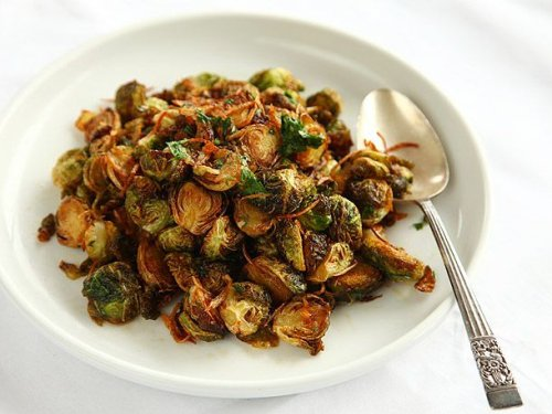 Fried Brussels Sprouts With Shallots and Chilies Recipe