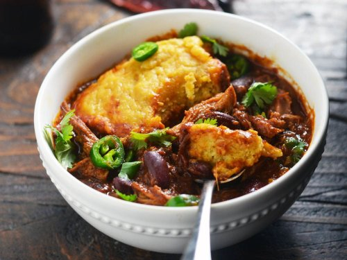 Slow-Cooker Pulled-Pork Chili With Cornbread Dumplings Recipe