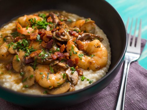 Upgrade Your Shrimp and Grits With Mushrooms, Bacon, and Gruyère
