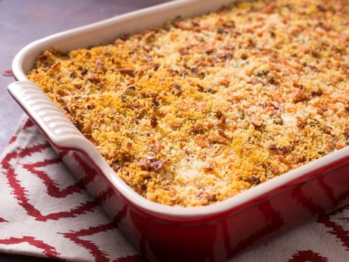 Crispy Mashed Potato Casserole With Bacon, Cheese, and Scallions Recipe
