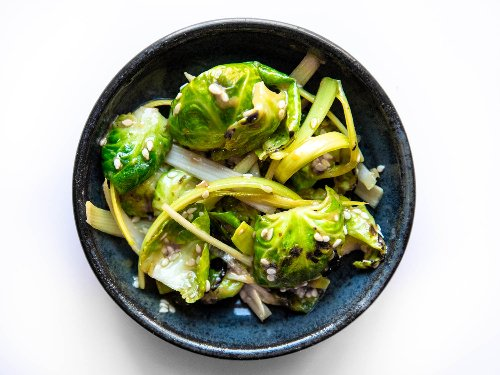 Charred Brussels Sprouts and Leek Muchim With Coffee-Dijon Dressing Recipe